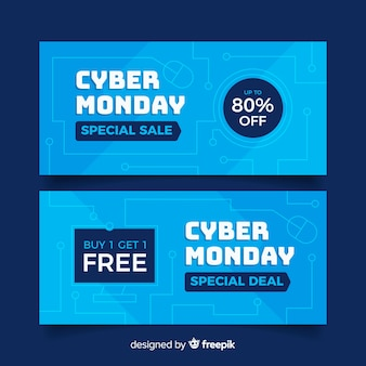 Set of flat cyber monday banners
