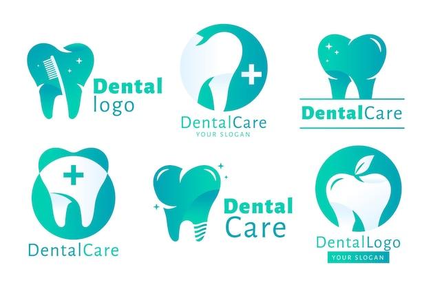 Set di modelli di logo dentale piatto
