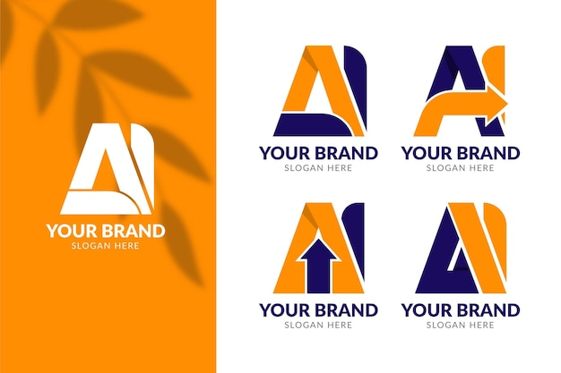 Set di modello di logo ai design piatto