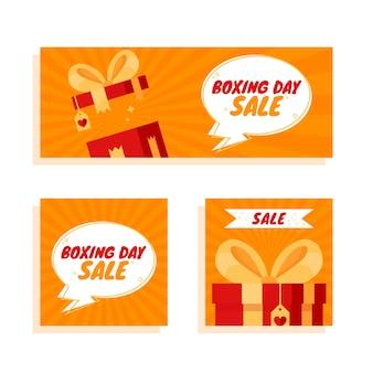休日のフラットなデザインのボクシングデーセールバナーテンプレートを設定します。