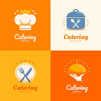 Set of flat design catering logos