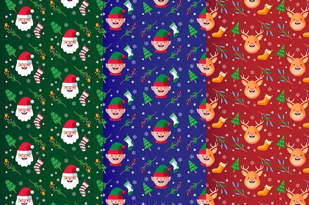 Set of flat design christmas patterns