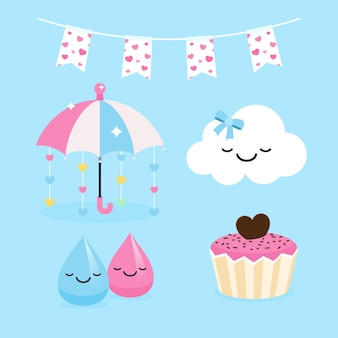 Set of flat design chuva de amor decoration elements