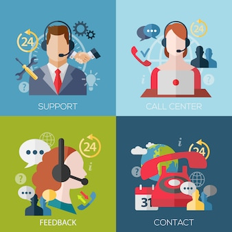 Set of flat design concept avatars for support, call center, feedback, contact