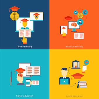 Set of flat design concept icons for web and mobile services and apps vector illustration
