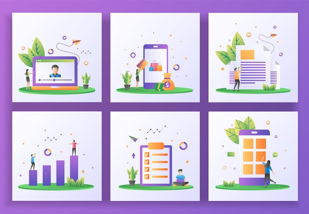 Set of flat design concept. online streaming, online payment, newsletter, investment, job list, mobile app.