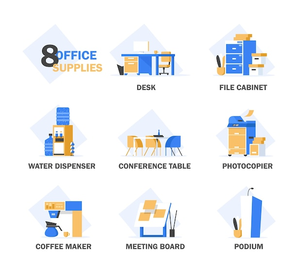Set of  flat design concept s of office equipment
