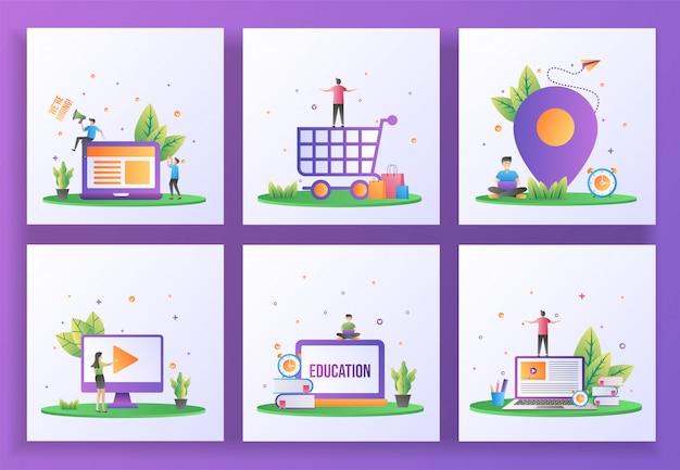 Set of flat design concept. we are hiring, happy shopping, location, video play, online education, e-learning.