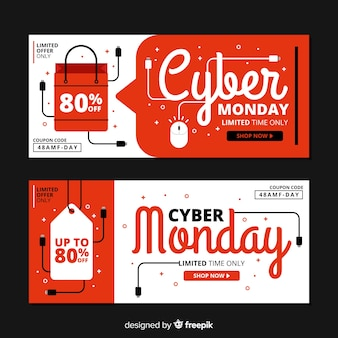 Set of flat design cyber monday banners
