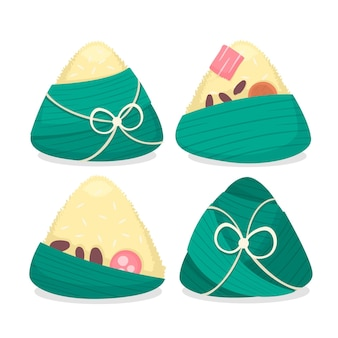 Set of flat design dragon boat's zongzi
