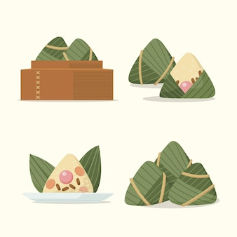 Set di zongzi di design piatto dragon boat
