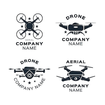 Set of flat design drone logo