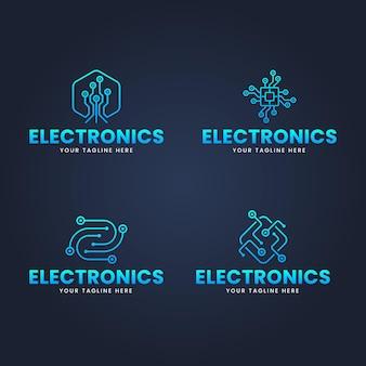 Set di modelli di logo di elettronica di design piatto