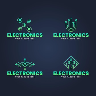 Set of flat design electronics logo templates