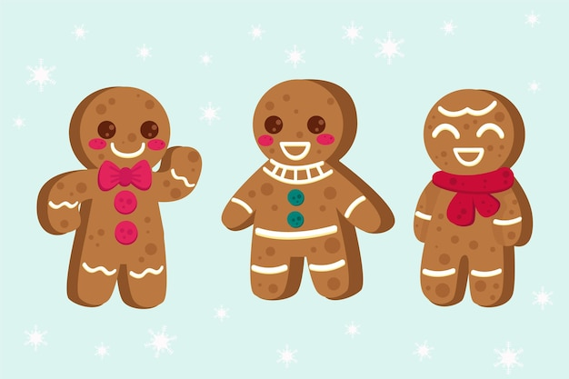 Set of flat design gingerbread cookies
