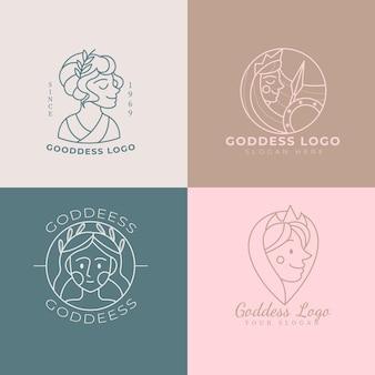 Set of flat design goddess logo templates