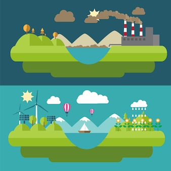 Set flat design illustrations with icons of environment, green energy and pollution. ecology flat design, flat ecology energy, icon flat ecology