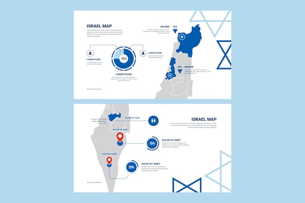 Set of flat design infographic israel map
