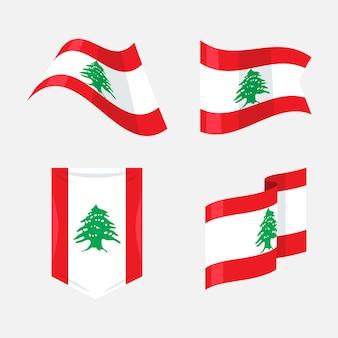 Set di bandiere libanesi design piatto flat Vettore gratuito