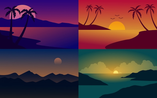 Set of flat design nature landscape