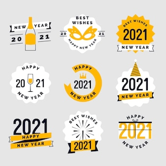 Set of flat design new year 2021 badges