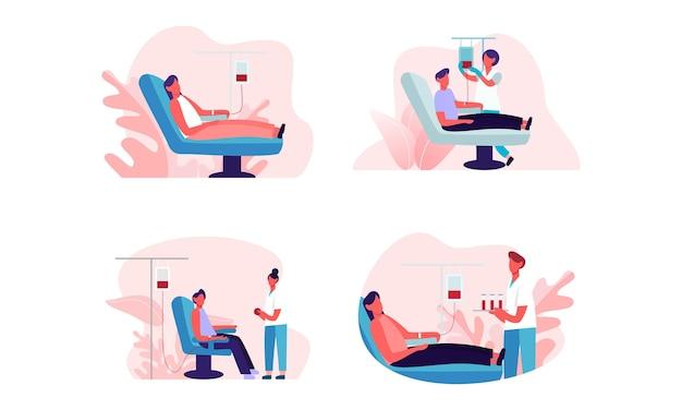 Set of flat design of people donating blood illustration