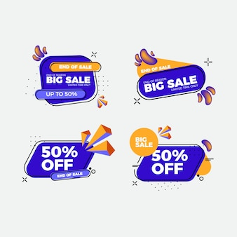 Set of flat design sale stickers