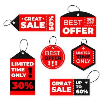 Set of flat design sales tags