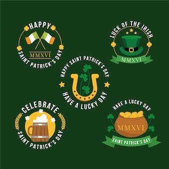 Set of flat design st. patrick's day badges