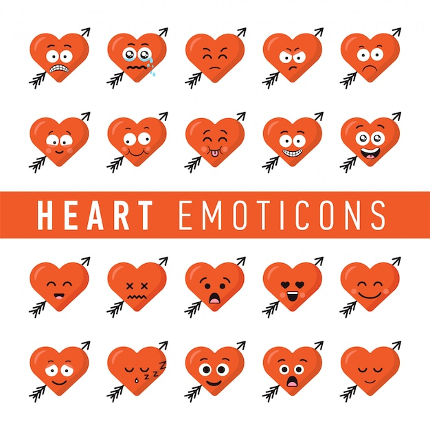 Set of flat design style heart emoticons