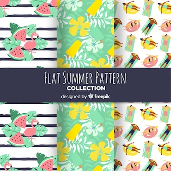 Set of flat design summer patterns