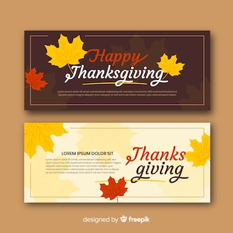 Set of flat design thanksgiving day banners