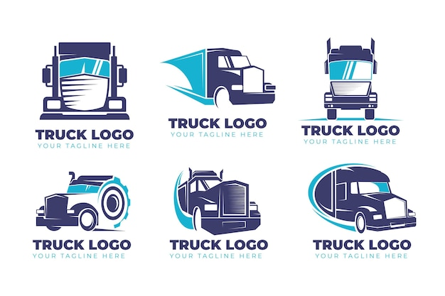 Set of flat design truck logos