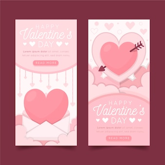 Set of flat design valentine's day banners