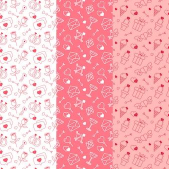 Set of flat design valentine's day pattern