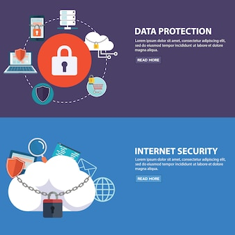 Set of flat design vector illustration concepts for data protection, and internet security. concepts for web banners template