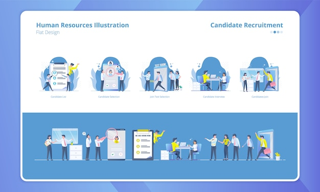 Set of flat design with human resources theme, candidate recruitment