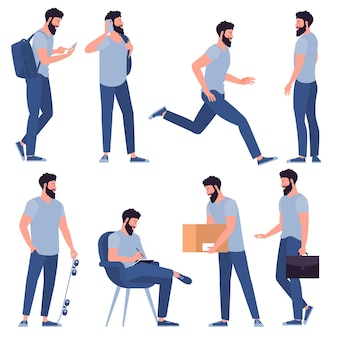 Set of flat design young casual style man characters