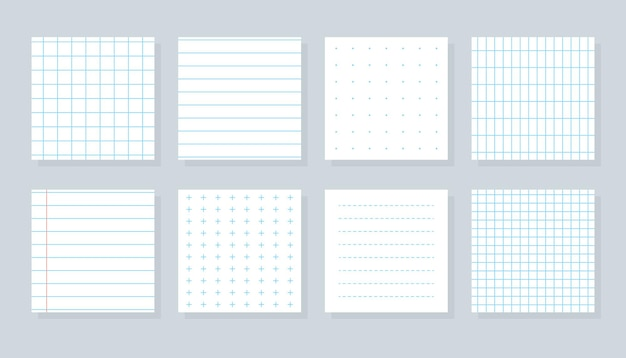 Set of flat different paper sheet squared templates checkered or line sheet copybook cover sheet with blue lined cross dotted and grid patterns school notebook paper isolated vector illustration