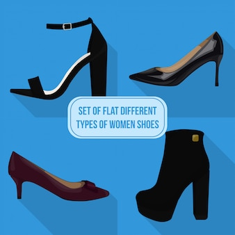 Set of flat different types of women shoes icons