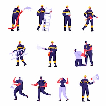 Set of flat firefighters, policemen and victims characters