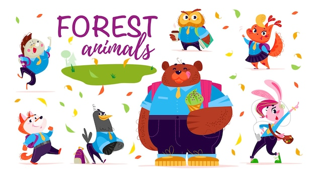 Set of flat friendly cute forest animals children back to school. animal students characters.