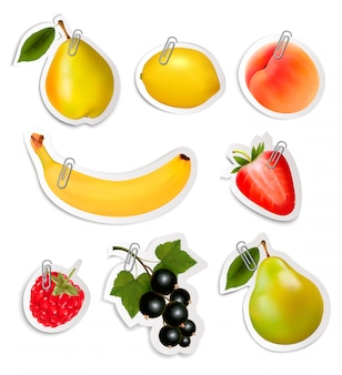 Set of flat fruit stickers with paper clips.