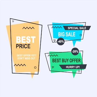 Set of flat geometric memphis vector banners style. discount offer price label, sale promo marketing