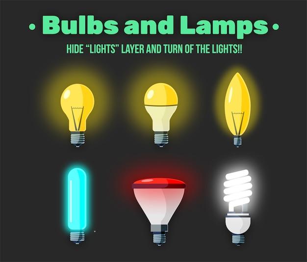 Set of flat glowing bulbs