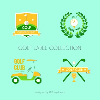 Set of flat golf labels