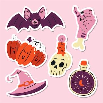 Set of flat hand drawn halloween elements