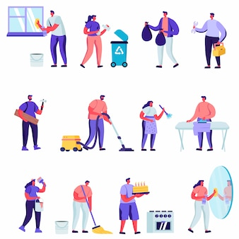 Set of flat household activities, husband for an hour set characters