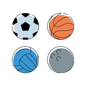 Set flat icon ball sport