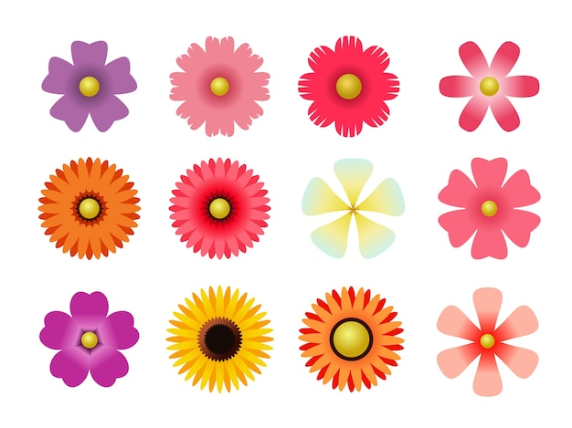 Set of flat icon flower icons in silhouette isolated on white